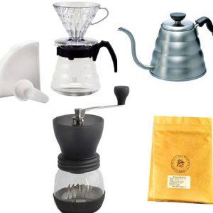 Kit Hario V60 + moulin + bouilloire + café