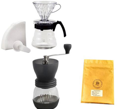 Kit hario V60 + moulin Hario + café