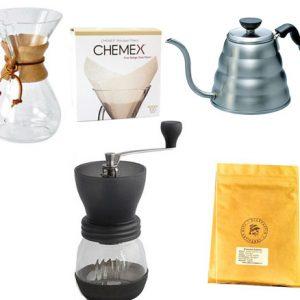 Chemex + moulin + bouilloire + café